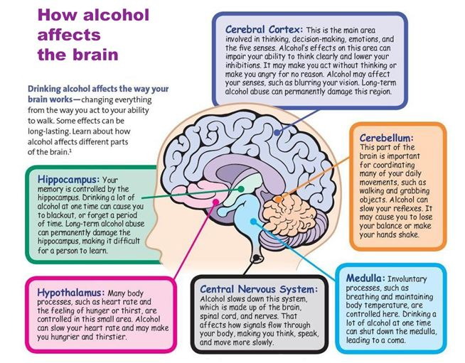 Pictorial summary off the effect of alcohol on the brain.