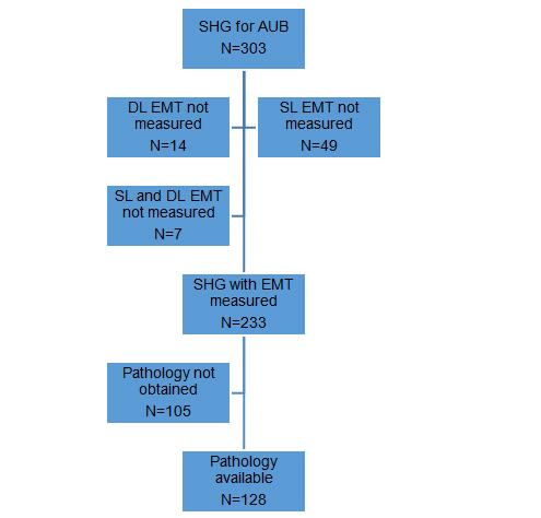Sonohysterographic measurement of endometrial thickness participant flow diagram aub denotes abnormal uterine bleeding dl double layer emt endometrial thickness shg sonohysterography sl single layer ccuart Choice Image